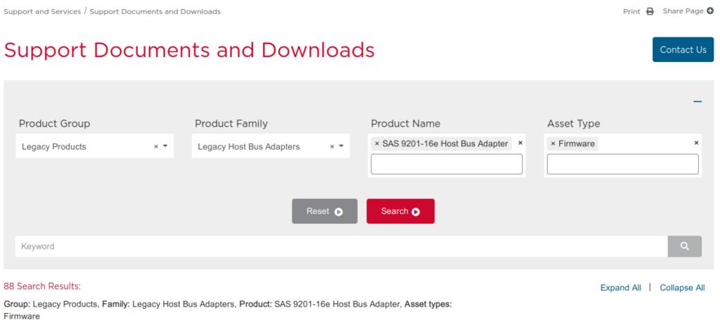 Broadcom support website download search criteria